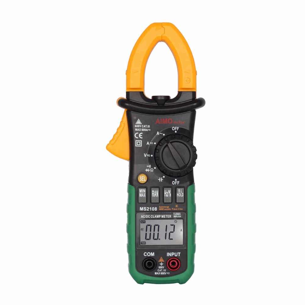 Aimometer  MS2108 Digital Clamp Meter w/ Backlight Earth Ground Uni t Megohmmeter Resistance Earth Tester Multimeter uni t ut522 2 7 lcd digital earth ground resistance voltage meter tester 6 x aa