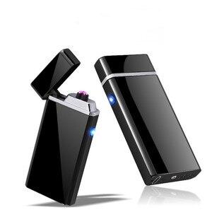 Image 1 - Aanpassen USB Elektrische Dubbele Arc Lichter Oplaadbare Winddicht Aansteker Sigaret Dual Thunder Pulse Cross Lichter Plasma