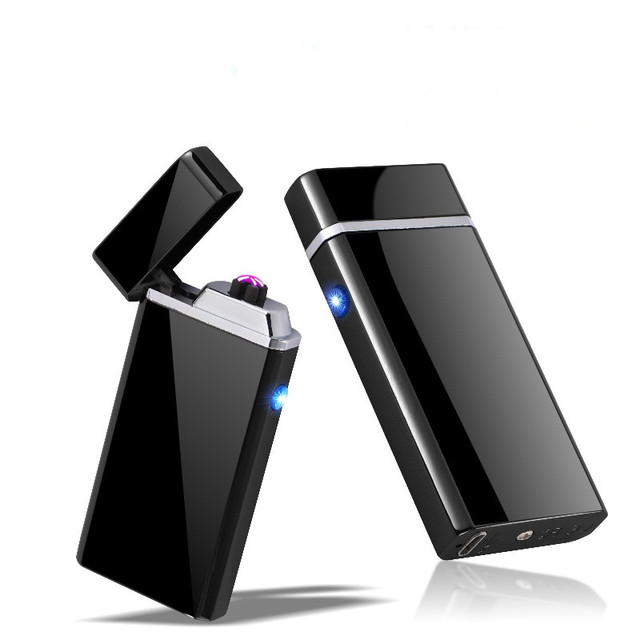 Customize Usb Electric Double Arc Lighter Rechargeable Windproof Torch Cigarette Dual Thunder Pulse Cross