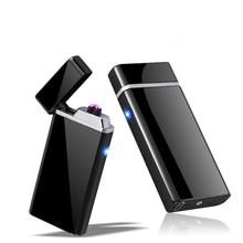Personalizar USB Elétrico Duplo Arco Mais Leve Recarregável Tocha À Prova de Vento Mais Leve Cigarro Dupla Trovão Plasma Pulso Cruz Mais Leve