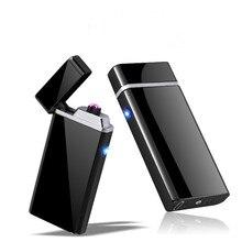 Personalizar USB eléctrico de doble arco encendedor recargable a prueba de viento encendedor cigarrillo doble trueno pulso cruzado encendedor Plasma