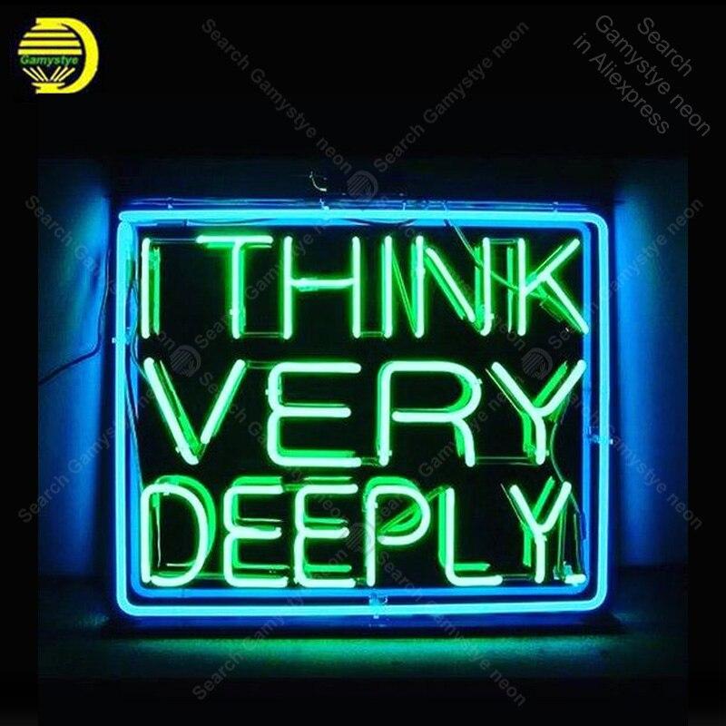 Enseigne au néon pour je pense très profondément afficher les lampes au néon vrai Tube de verre décorer la salle de la maison publicité néon lumière personnalisée avec panneau
