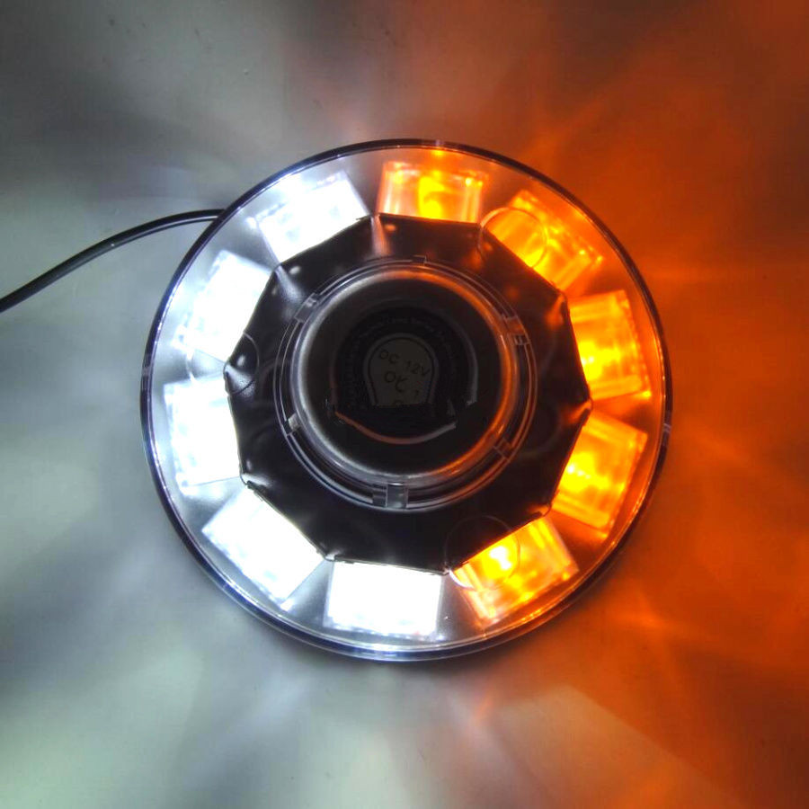 CYAN SOIL BAY POWER 10 LED CAR EMERGENCY BEACON LIGHT STROBE HAZARD WARNING LAMP AMBER/WHITE