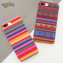 KISSCASE Case For iPhone X 8 Retro Bohemian Colorful Cloth Knitting PC Phone Cases For iPhone 7 6 6s Plus 5 5s SE Coque Fundas(China)