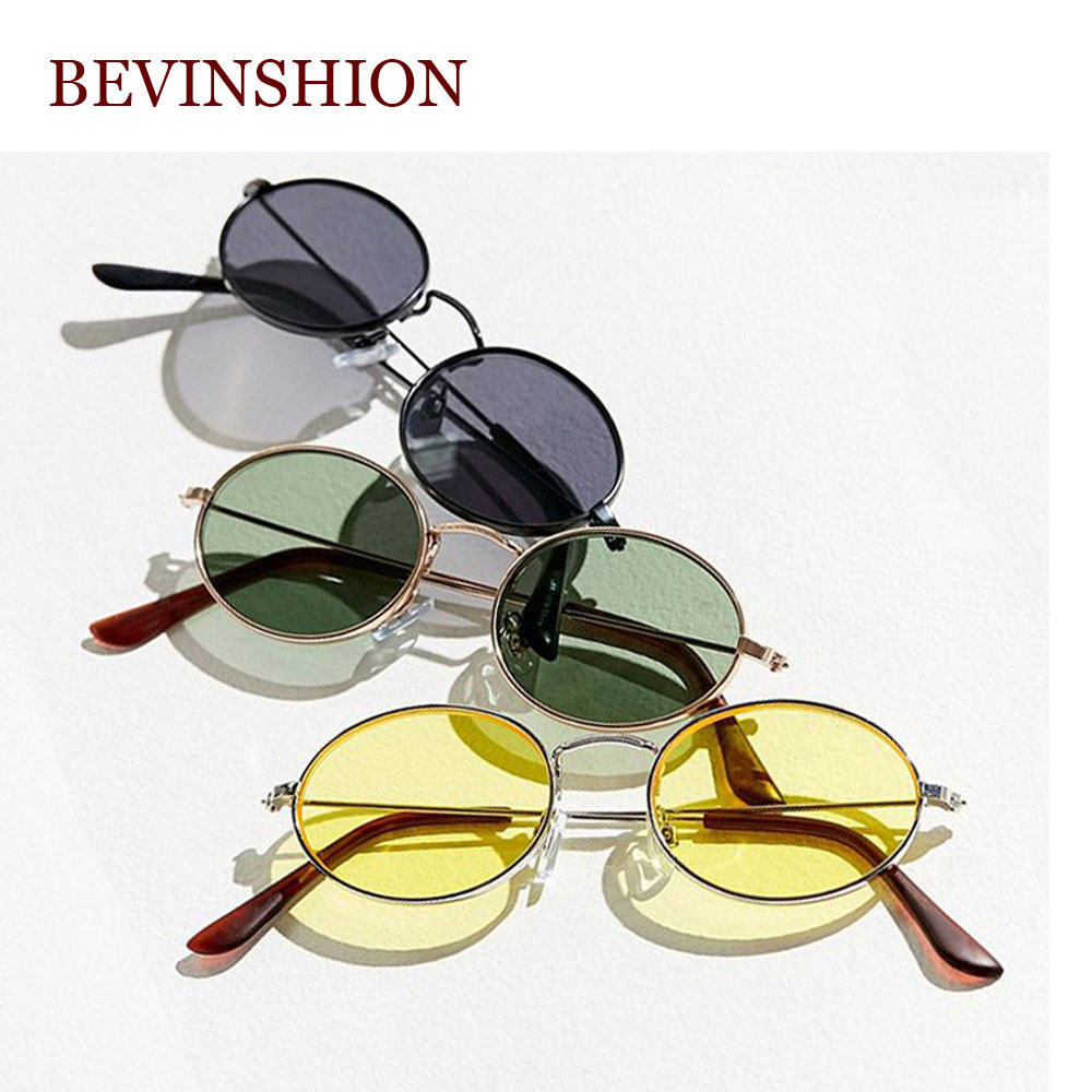 0953a25cf5 Retro Glasses Women s Oval Sunglasses Men Brand Designer Metal Korean Small  Vintage Round Sun Glasses Red