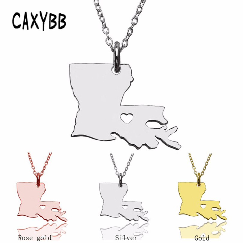 America Louisiana State Necklaces stainless steel Heart Map necklaces ladies fashion map pendants statement necklace women