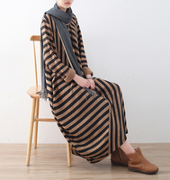 Fashion Women Loose Long Dresses Striped Middle East Robes Female Casual Patchwork Maxi Oversize Vestidos Batwing Sleeve Dress