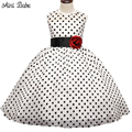 Kids Dresses For Girls Wedding Gown Dress Vintage Polka Dots Toddler Girl Clothes Children Clothing Chiffon Tulle Dress For Girl