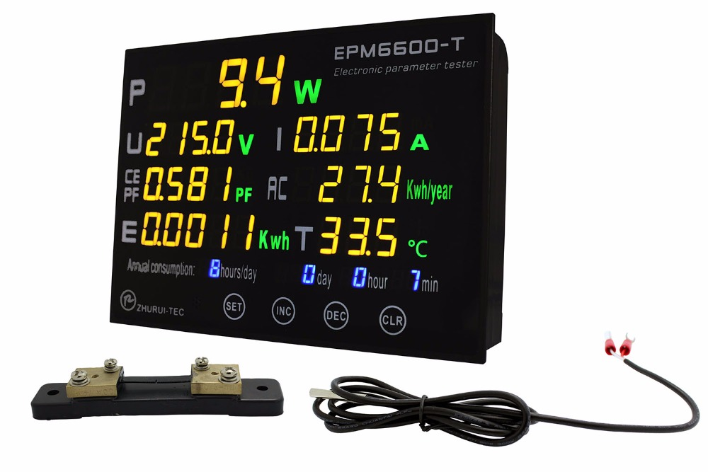 AC EPM6600 T /30A shunt / 9kw Multi function power meter  monitor/thermometer  measure V I P PF CE KWH E and temperature-in Power Meters from Tools    1