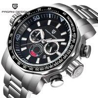 Saatler'ten Kuvars Saatler'de Üst marka PAGANI tasarım erkekler izle iş rahat kuvars saatler su geçirmez paslanmaz çelik Relogio Masculino kol saatleri saat