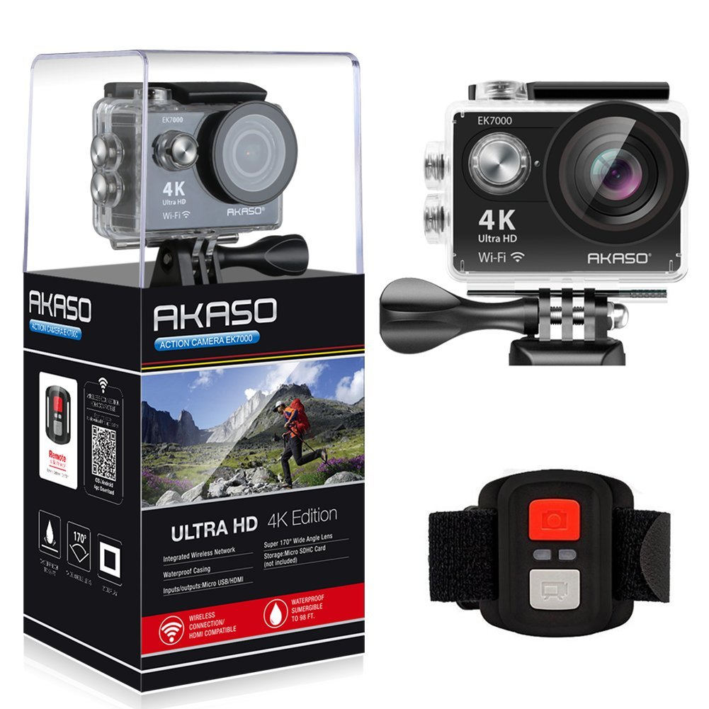 Original 2017 Version AKASO EK7000 4K Action Camera WIFI Ultra HD Waterproof Sports DV Camcorder 12MP 170 Degree Wide Angle original eken action camera eken h9r h9 ultra hd 4k wifi remote control sports video camcorder dvr dv go waterproof pro camera