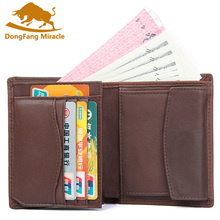 DongFang Miracle New Slim Genuine Leather Mens Wallet Man Cowhide Cover Coin Purse Small Male Credit&id Multifunctional Wallets стоимость
