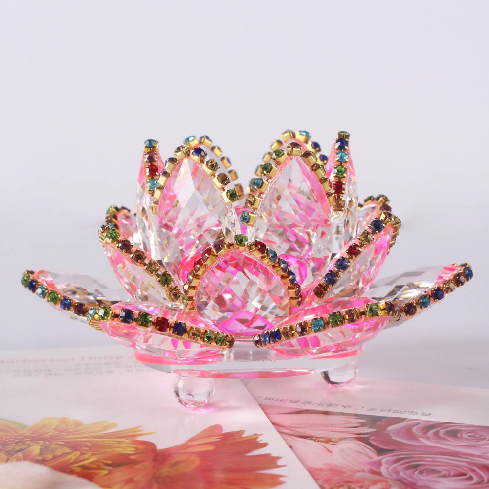 3.3 Inches 85mm k9 crystal lotus flower for home decoration, wedding ...