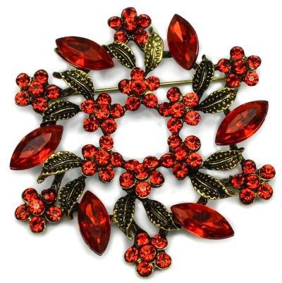 2 дюйма под бронзу Винтаж брошь с завитками с красным Хрустальные Стразы Свадебная вечеринка брошки с цветами - Окраска металла: Red