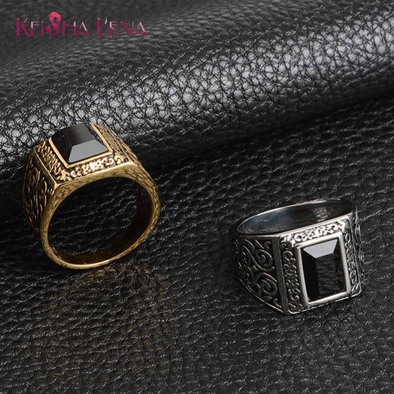 Cool Rings For Men Luxurious Rectangular Glass Acrylic Stainless Steel Engrave Ring High Quanlity Metal Finger Jewelry Gifts