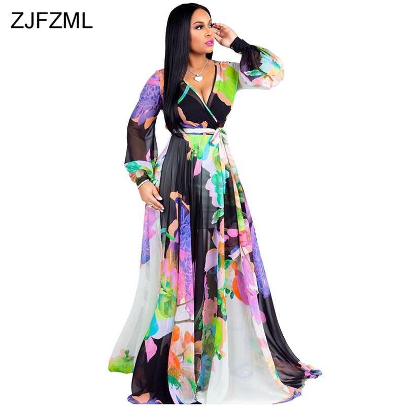 441ebcc84d5 ZJFZML с сексуальным цветочным принтом шифоновое платье женское глубокий v-образный  вырез длинный рукав в