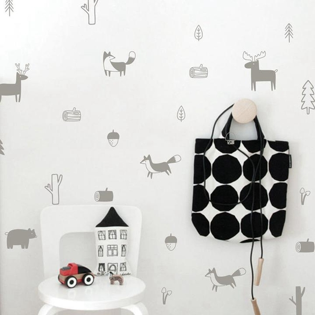 Nordic Style Forest Animal Wall Decals for Nursery Room