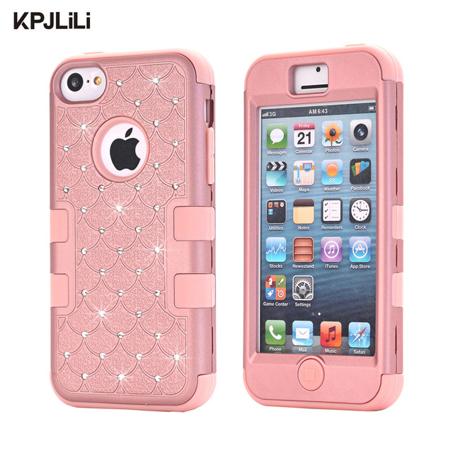 hot sale online 5f573 7e589 US $5.59 25% OFF|Rose Gold Bling Case for iPhone 5C Full Protective Diamond  Shockproof Hybrid Hard Rubber Silicone Impact Skin Armor Phone Cover on ...
