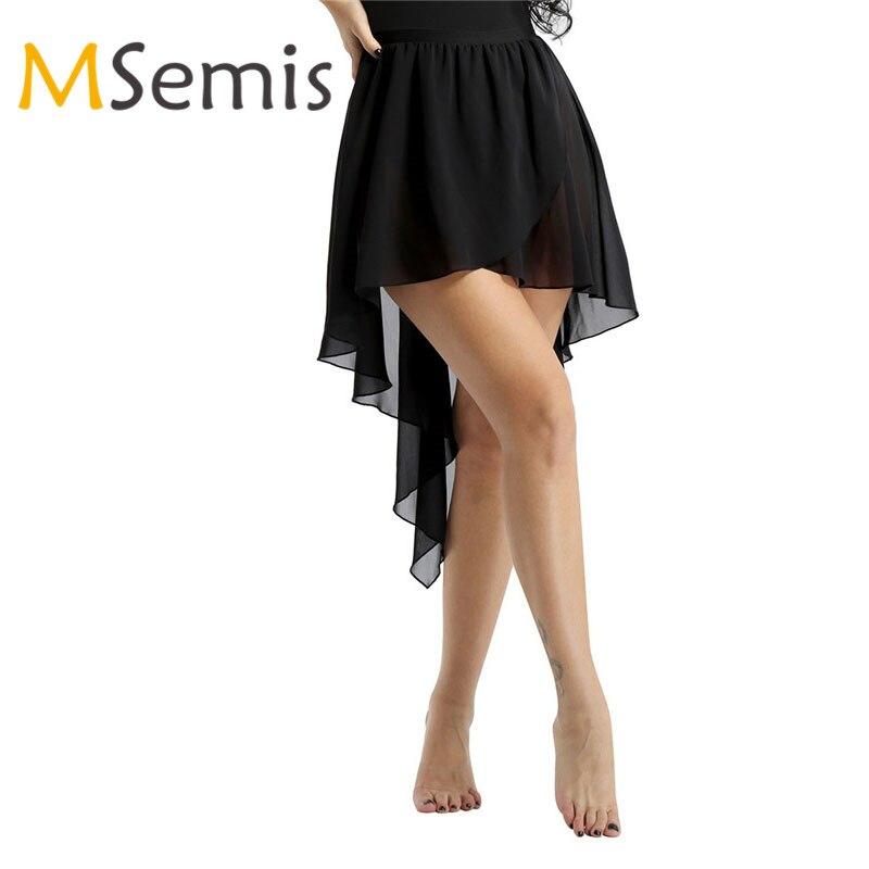 Women Ballet Skirt Dance Skirt Ladies Side-Dip Chiffon Asymmetrical Skirt For Ballet Leotard Dance Adult Performance Costume