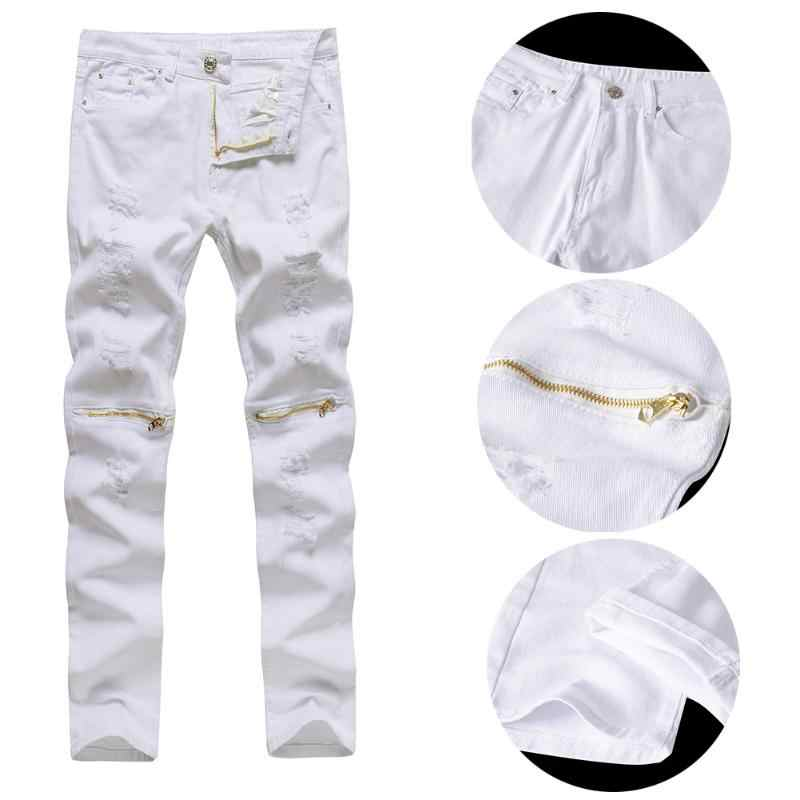 Mens Pants Fashions Men Streetwear Zipper Biker Jeans Men Slim Skinny Destroyed Jeans Pants Male Hip Hop Long Pants Black White