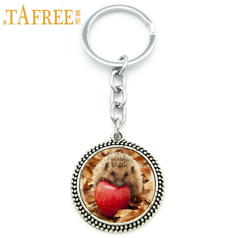 TAFREE hungry Hedgehog Key Chain it eats fruit in picture Fashion Keychain round Glass very cute style metal jewelry H251 цены онлайн