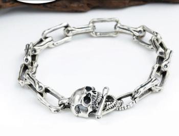 Pure Silver Sterling 925 Silver Fashion Jewelry Retro Thai Silver men's Skull Buckle S925 Bracelet (FGL)