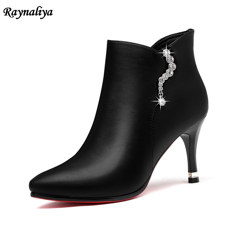 Fashion Shoes Woman Spring Autumn Ankle Boots For Lady Top Quality High Heels Shoes Big Size 34-40 With Diamond LSN-B0023 aidocrystal heart shape factory direct sell fashion woman diamond clutch for lady