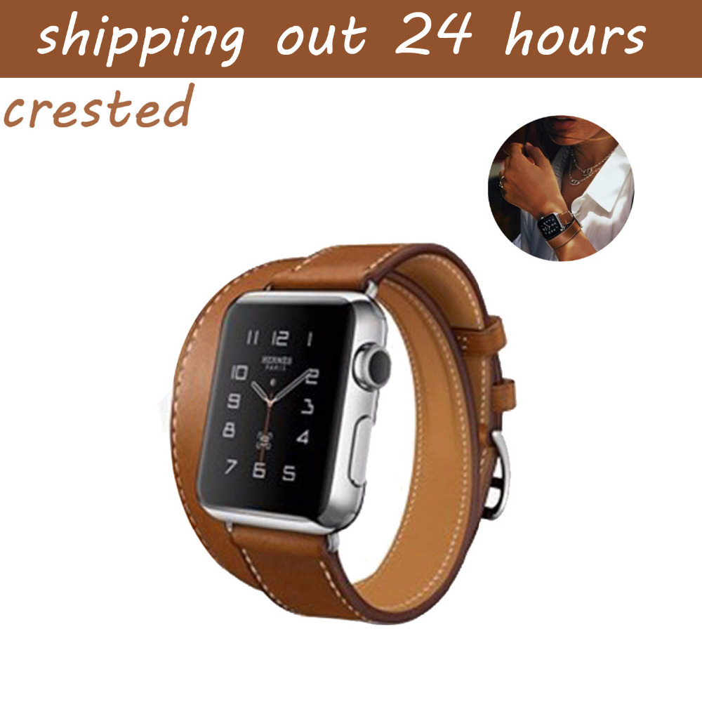 CRESTED Genuine Leather band for apple watch band 42mm 38mm watch belt bracelet watchband Double Tour strap for iwatch 3/2/1 crested leather cuff bracelets watch band for apple watch hermes bracelet 38mm 42mm