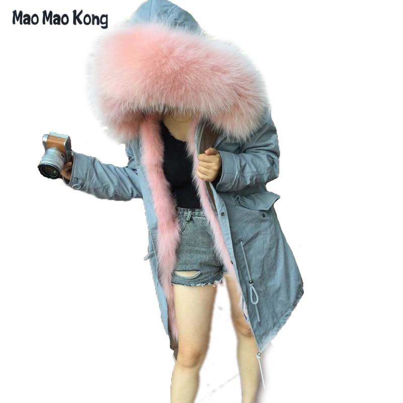 37133a49b1505 2018 Women Army Green Real Fox Fur Parka Light Pink Thick Women Winter Parka  Fur Parka Light Pink Fox Fur Free EMS DHL