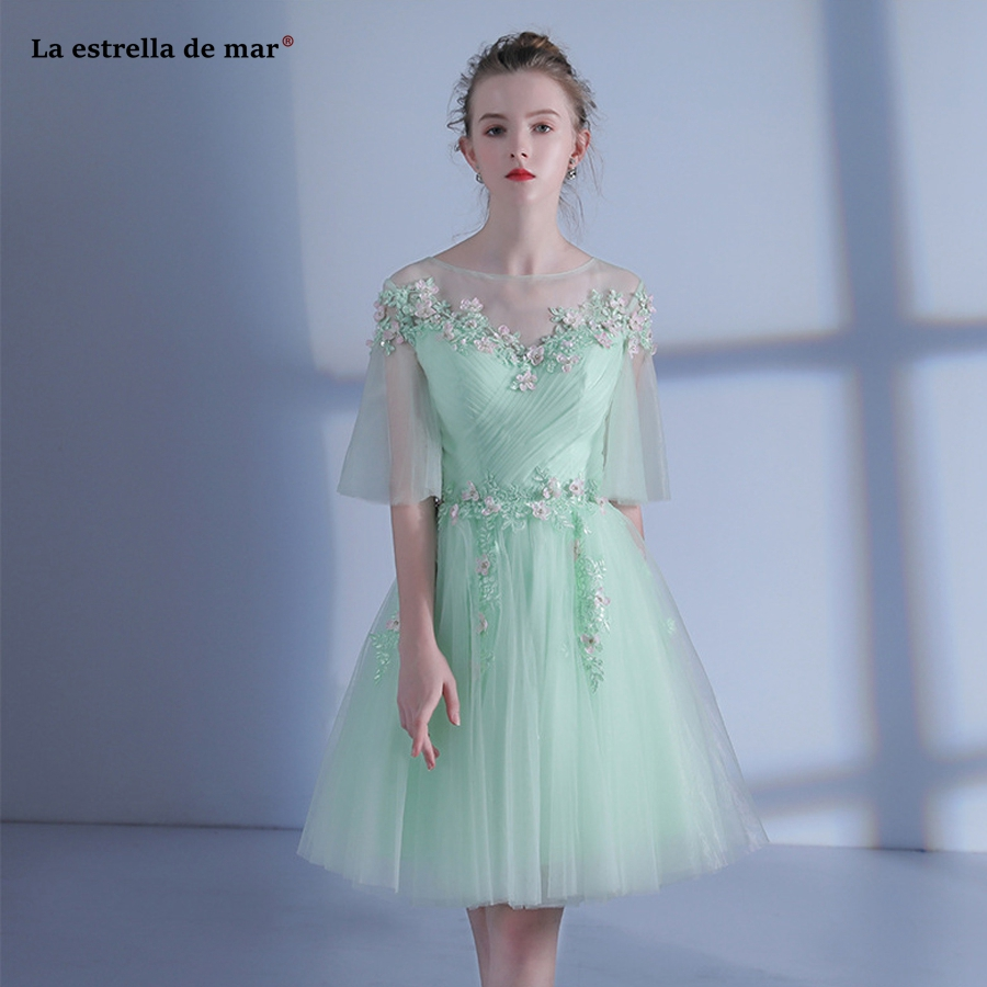Vestido madrinha2018 new tulle beaded bat sleeve a Line mint green   bridesmaid     dress   short plus size teen wedding party gown
