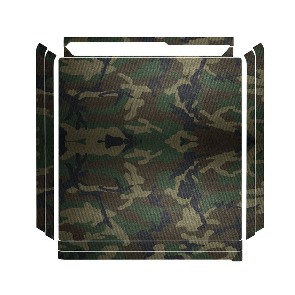 Camouflage Plastic Vinyl Skin Sticker Removable Game Console Sticker with 2 Controllers Cover Joypad Decal For PS4