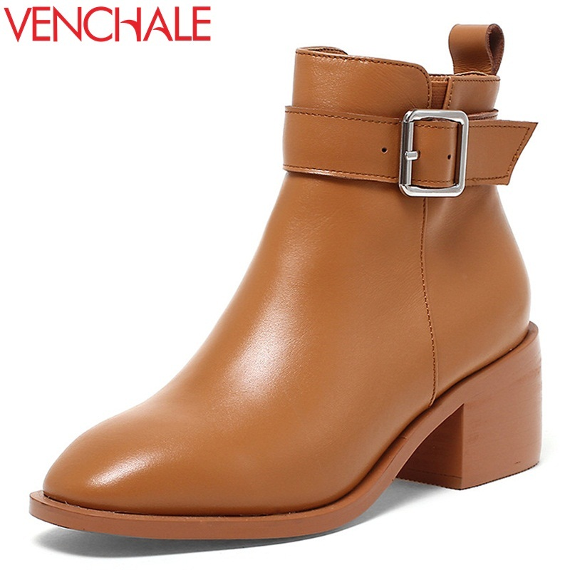 VENCHALE women ankle boots winter shoes 2017 new come ladies genuine leather high heel round toe buckle winter booties 34-39 twisee new lace up ankle boots zapatos mujer women genuine leather boots vintage style flat booties round toe women s shoes