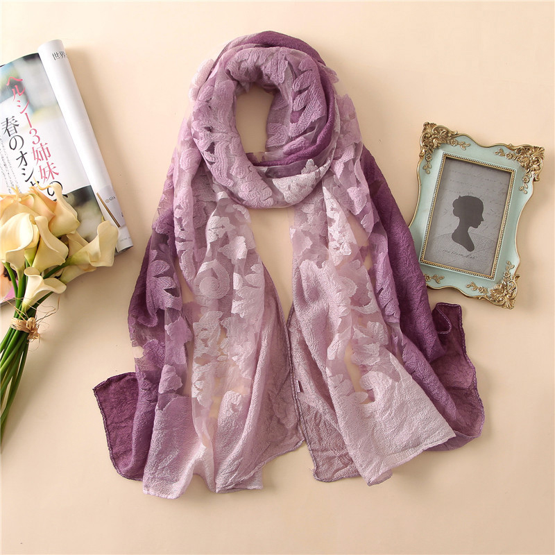 1PC 2018 New Lace Gradient Women Scarf Printed Thin Summer Spring Female Lady Pashmina Shawls Wrap Soft Lace Long Scarves