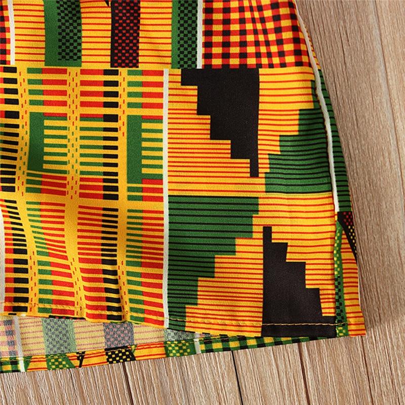 Toddler Baby Girls African Print Off Shoulder Hair Band Princess Casual Dress vestido robe fille  #4j12 (1)