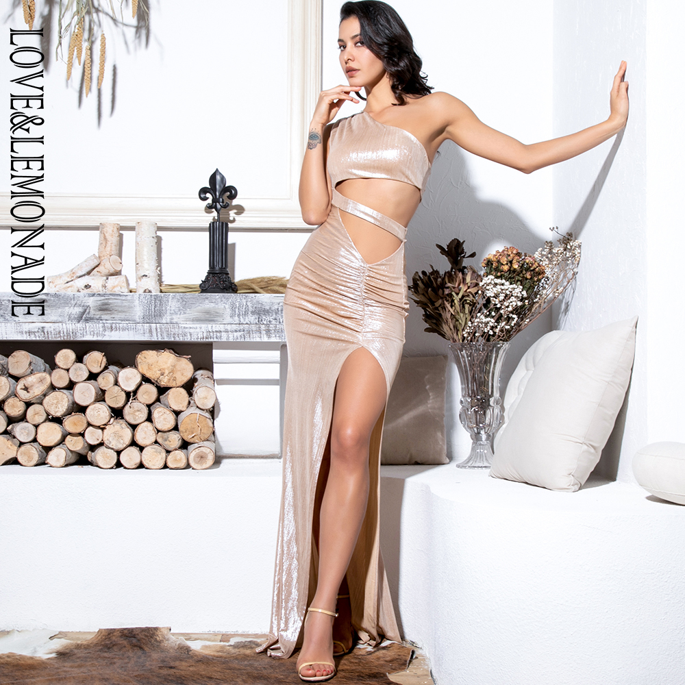 Love Lemonade Sexy Champagne Cut Out One Shoulder Maxi Reflective Dress LM81697