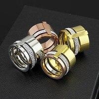 Wholesale stainless steel rings for women men luxury rose gold silver drill CZ rings wist finger ring