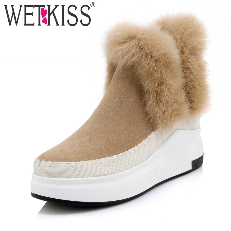 WETKISS Mature High Wedges Platform Ankle Boots Leisure Warm Fur Winter Boots Genuine Leather Suede Women Shoes Elastic Slip On women s genuine suede leather hemp wedge platform slip on autumn ankle boots brand designer leisure high heeled shoes for women