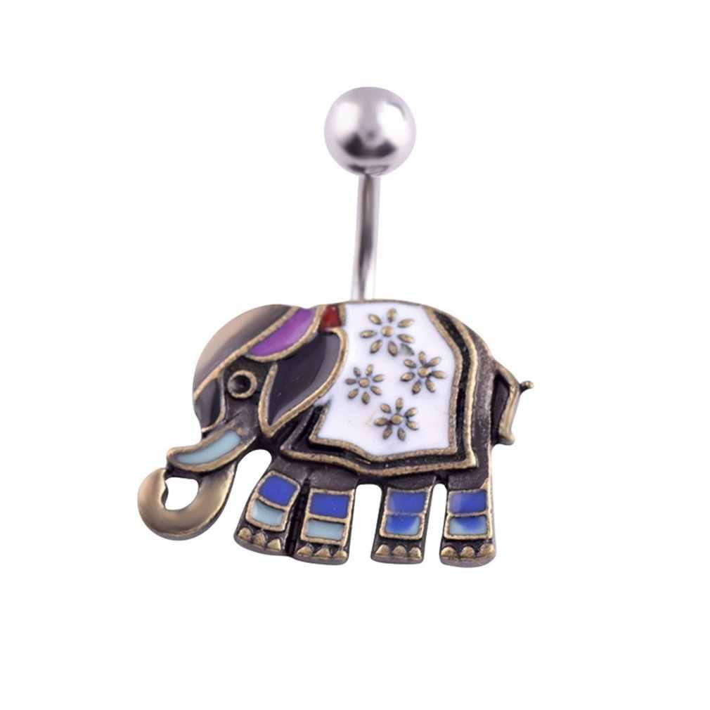 Q01543 טפטוף פיל טבור טבעת קריסטל ריינסטון טבעות טבור פירסינג טבור טבעות תכשיטים