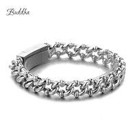 Браслет Будды, панцирная кубинская цепочка, серебряный цвет, браслеты для мужчин и женщин, бесплатная доставка, фабричное предложение, хоро...
