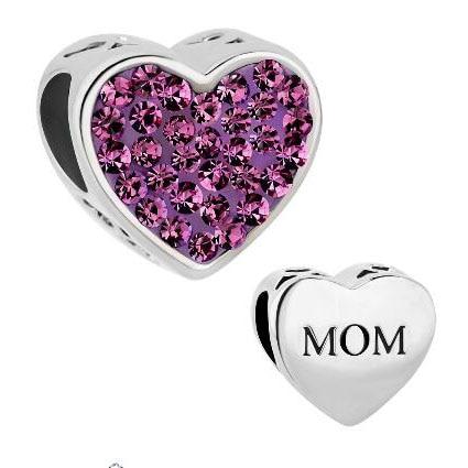 slide bead Fit Pandora charm bracelets Mom Purple Crystal Heart For Beads Charms Bracelets beads for jewelry making