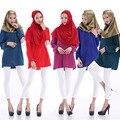 2016 Verão de Manga Longa Remendo de Pano Zipper O Pescoço Vestuário Muçulmano Chiffon Camisa Blusa Mulheres Topos Muçulmanos Cingapura