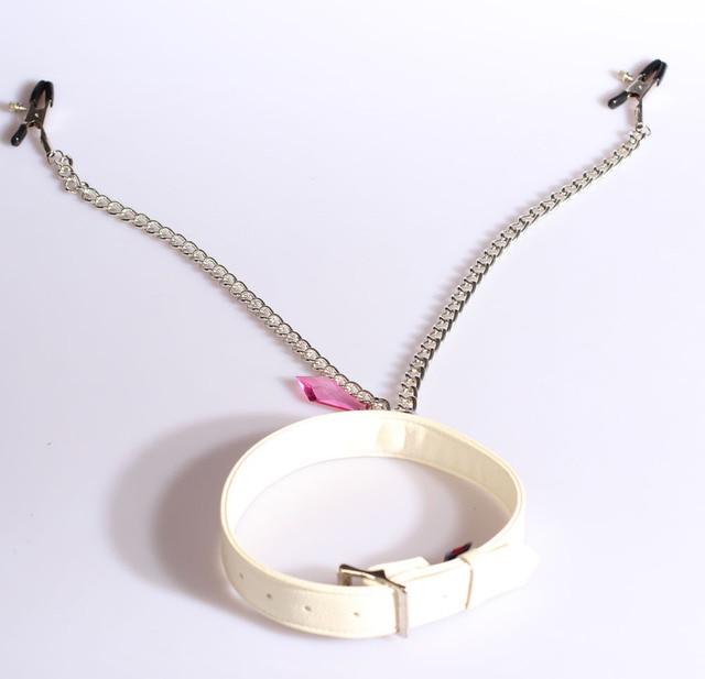 Белый кожаный сдержанность рабов и сфера услуг с зажимы для сосков, Леди сексуальный розовый neckcollar с зажимы для сосков игрушка, Для взрослых продукты воротник