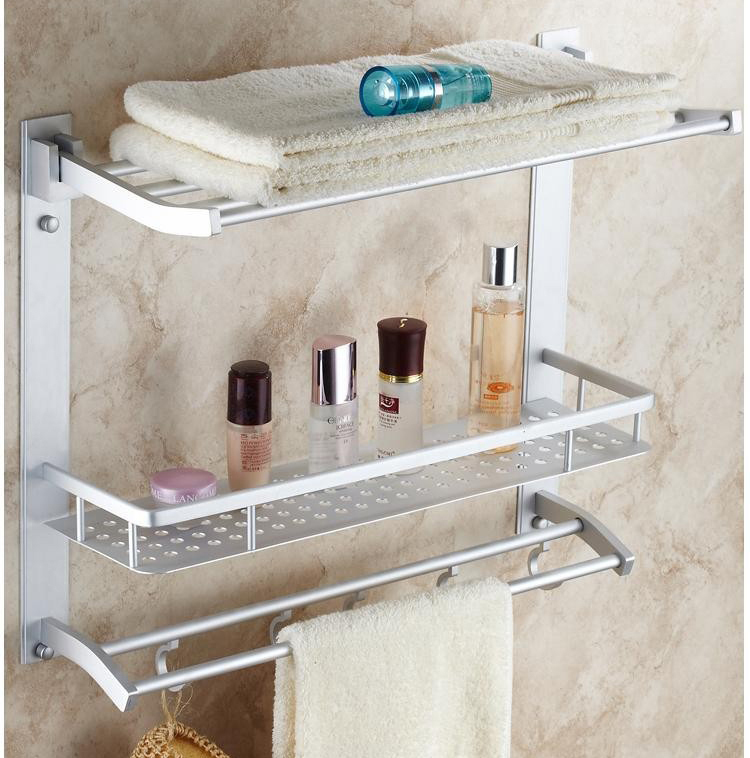 Bathroom Shelves 3 Tier Movable Bath Shelf Hooks Towel Bars Hanger Cosmetic Storage Rack Bathroom Accessories Towel Holder 7840 nail free foldable antique brass bath towel rack active bathroom towel holder double towel shelf with hooks bathroom accessories