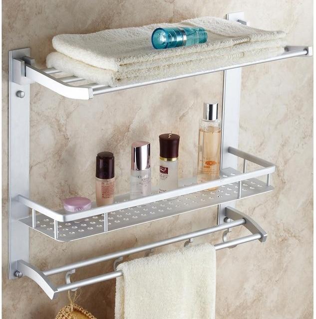 Bathroom Shelves 3 Tier Movable Bath Shelf Hooks Towel Bars Hanger ...