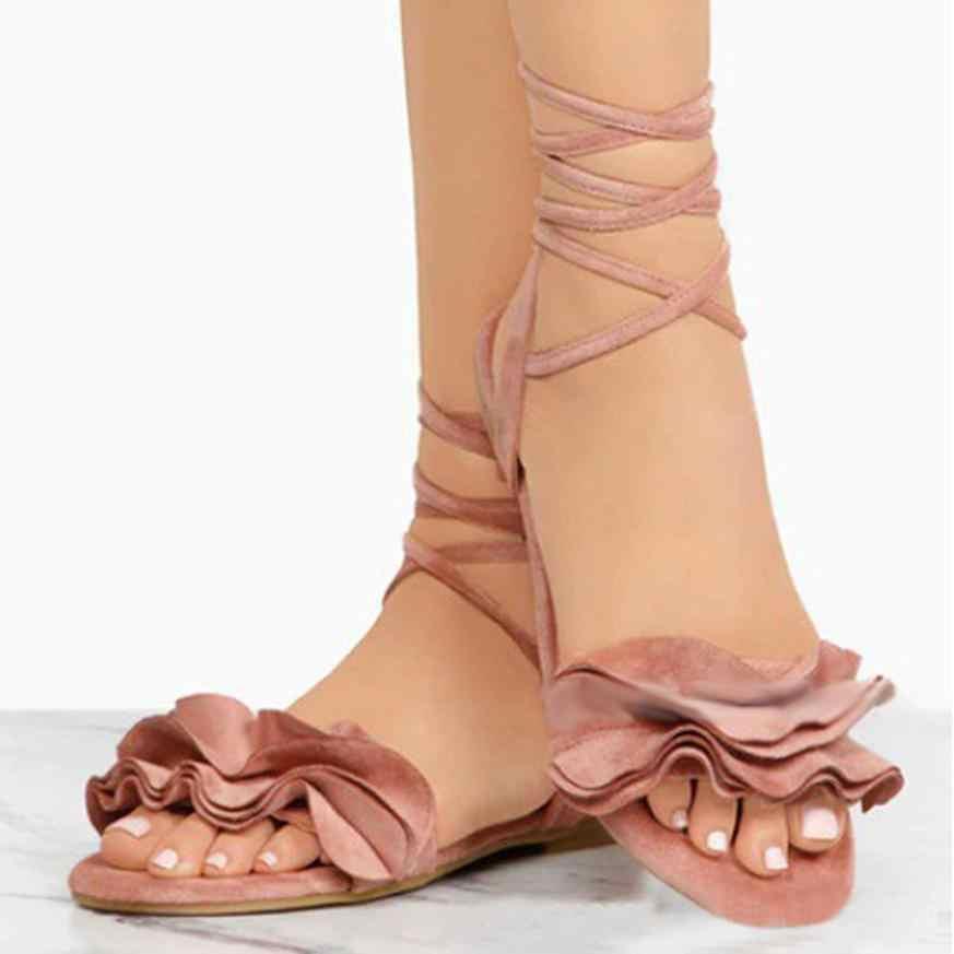 รองเท้าผู้หญิงรองเท้าแตะผู้หญิง Ruffles สีทึบรอบ Toe ส้นแบน Cross ผูกรองเท้าแตะโรมรองเท้ารองเท้าแตะฤดูร้อน Drop Shipping