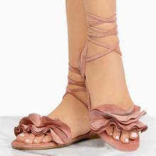 Ruffles Round Toe Flat Cross Tied Sandals NA01