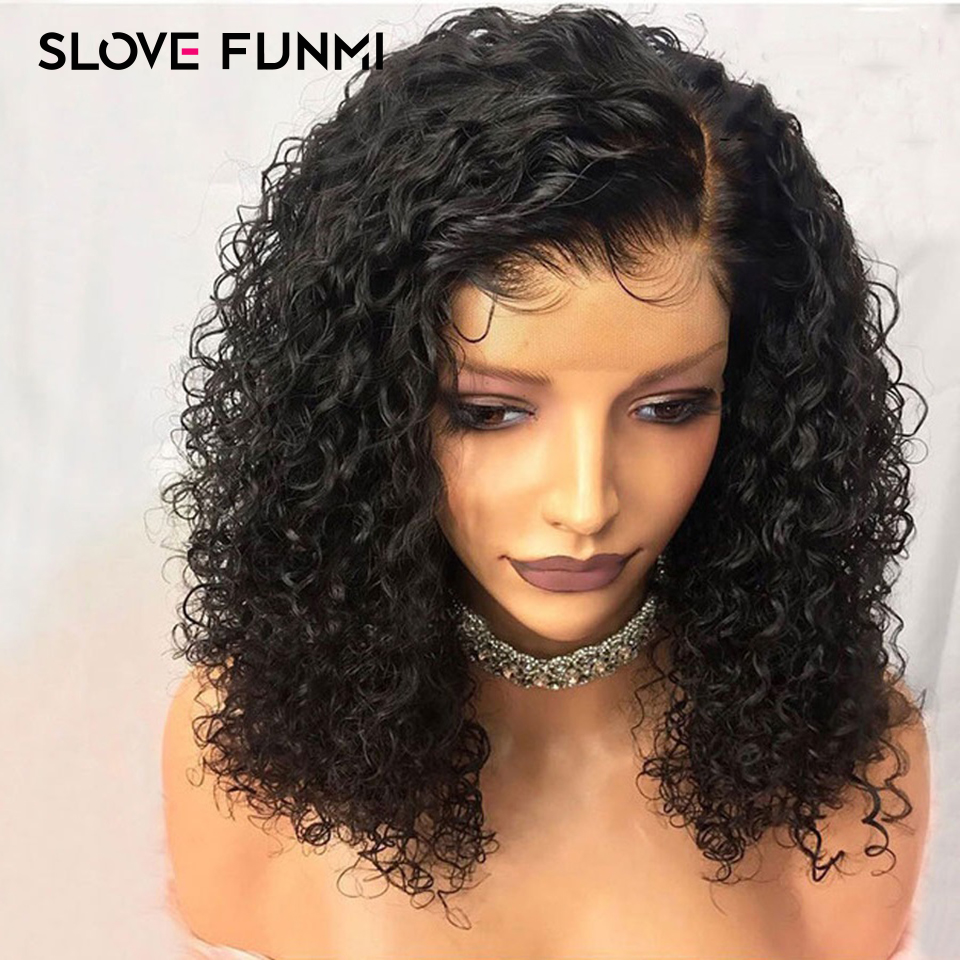 Bob Curly Lace Front Human Hair Wigs For Black Women With Baby Hair Glueless Pre Plucked Brazilian Remy Short Bob Wig SloveFunmi(China)