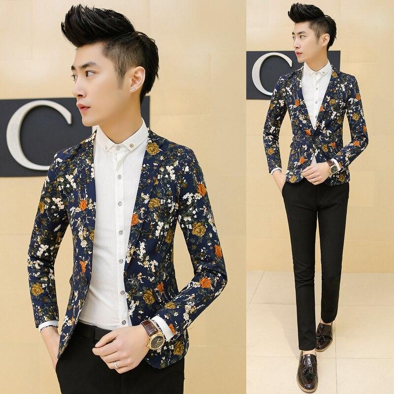 men floral blazers 2015 korean male singer costume stage ...