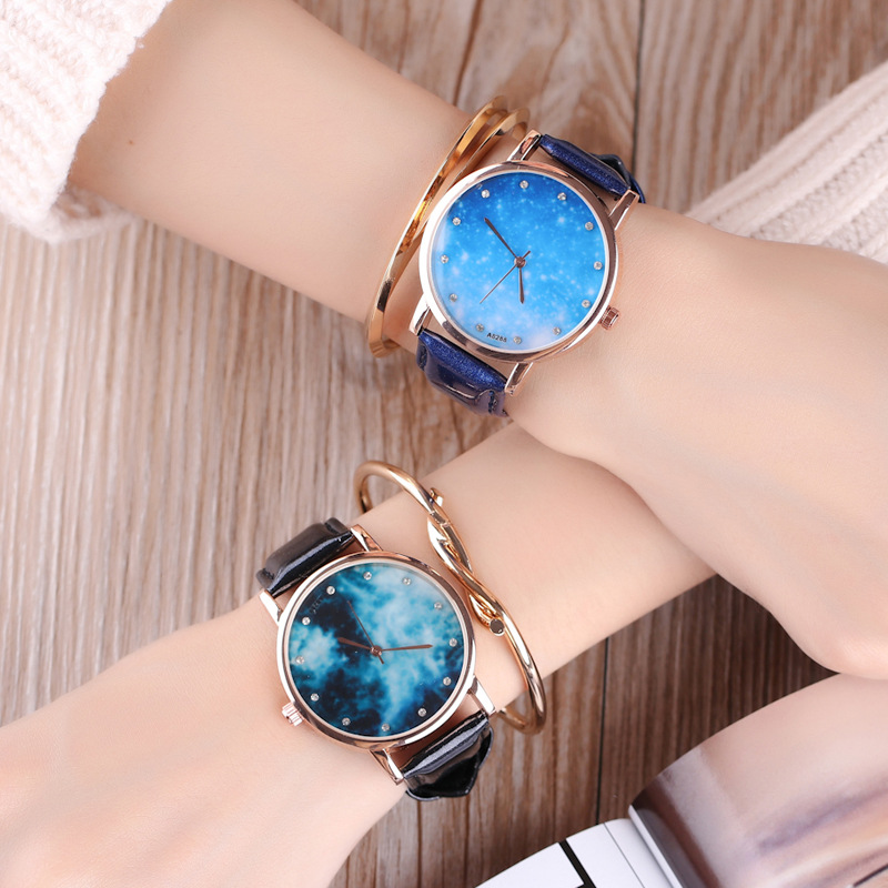 MILER New Fashion Women Watch Leather Strap Golden Star and Sky Pattern Casual Quartz Wristwatch Ladies Popular Relogio Feminino miler vintage fashion watch women retro leather strap world map casual quartz wristwatch ladies creative clock relogio feminino