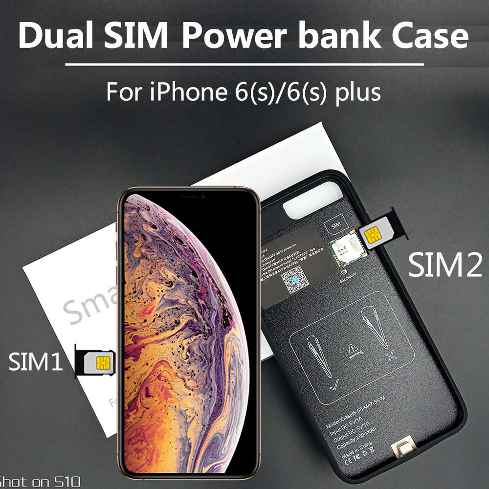 Bluetooth <font><b>Dual</b></font> <font><b>SIM</b></font> <font><b>Dual</b></font> Standby Adaper Ultrathin Long Standby for <font><b>iPhone</b></font> 6(s)/6(s) plus with 1500/2300 mAh Power Bank image